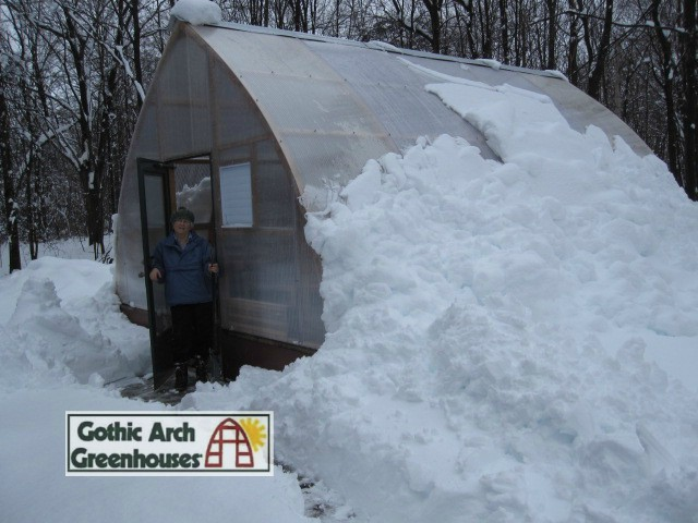 Gothic Arch Greenhouse snow runoff