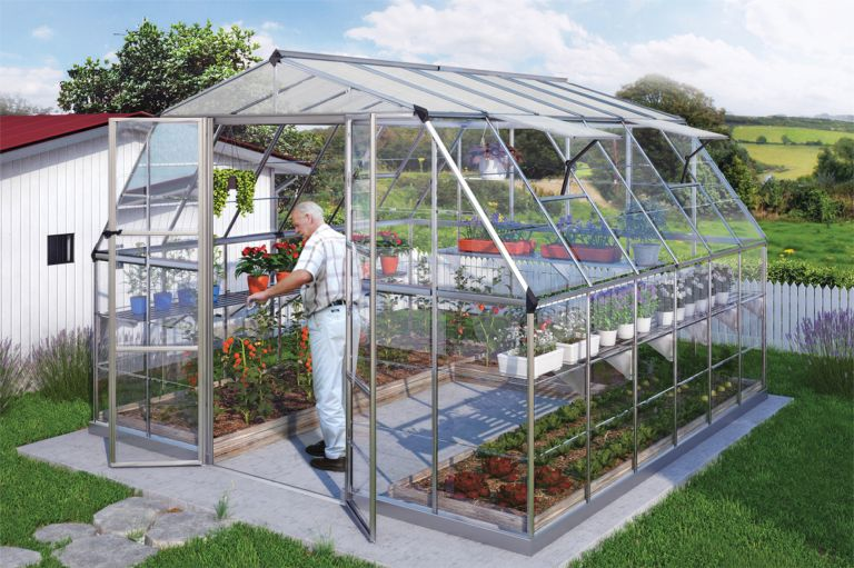 Americana hobby greenhouse gothic arch greenhouses for Fan size for 12x12 room