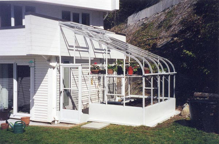 Pacific glass lean to greenhouse sale gothic arch for Gothic arch greenhouse plans