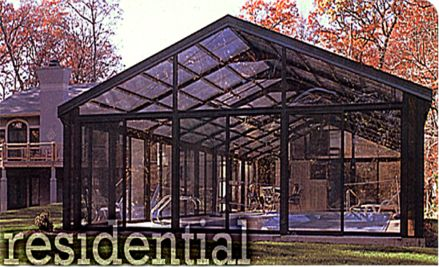 Residential pool enclosures gothic arch greenhouses for Greenhouse over swimming pool