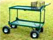 "Garden center & Shopping carts-10"" swivel pneumatic front wheels. Second deck offers more room."