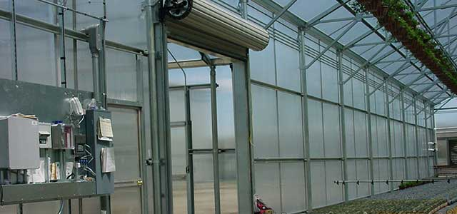 Commercial Steel Roll Up Greenhouse Door Gothic Arch