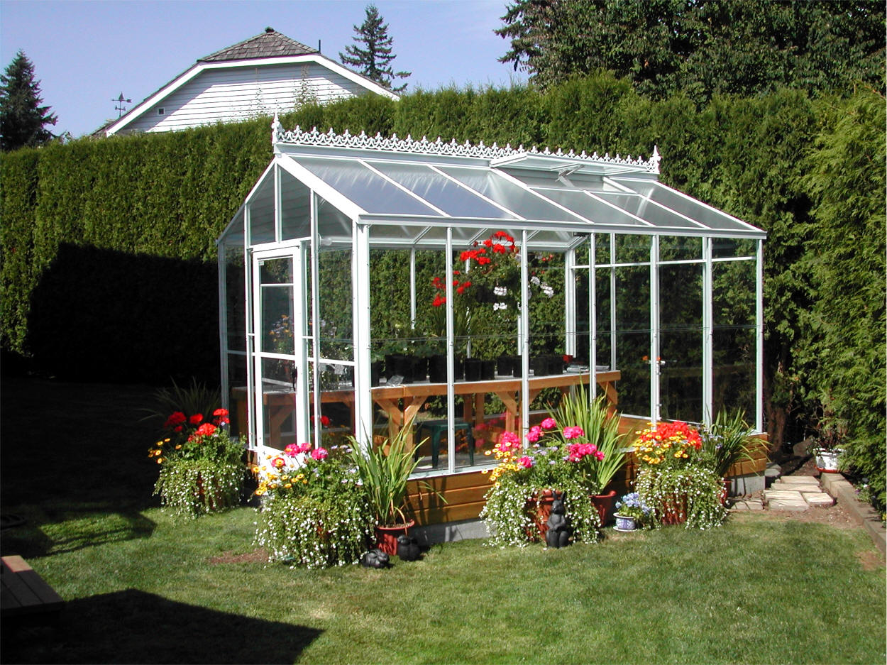 Traditional glass greenhouses sale gothic arch greenhouses for Green home building kits